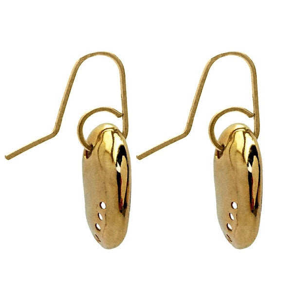 Baby Paua Earrings - Gold by Stone Arrow - Rata Jewellery