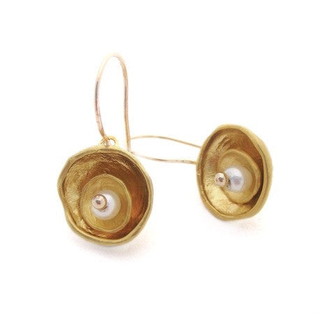 Gold Cap Earrings by Louise Douglas - Rata Jewellery