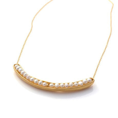 Gold Sea Pod Cresent Necklace by Louise Douglas - Rata Jewellery