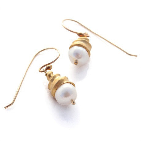 Spiral Shell Earrings - Gold by Louise Douglas - Rata Jewellery