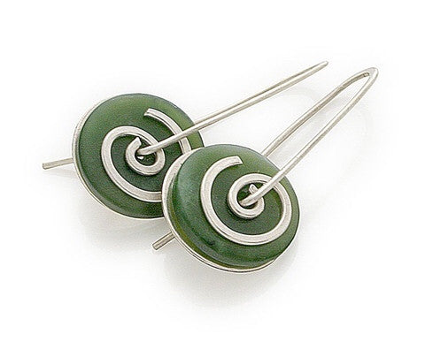 Spiral Earrings - Greenstone by Stone Arrow - Rata Jewellery