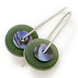 Greenstone & Paua Earrings by Stone Arrow - Rata Jewellery