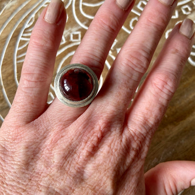 Garnet Orb Ring by Joshua Denniston - Rata Jewellery