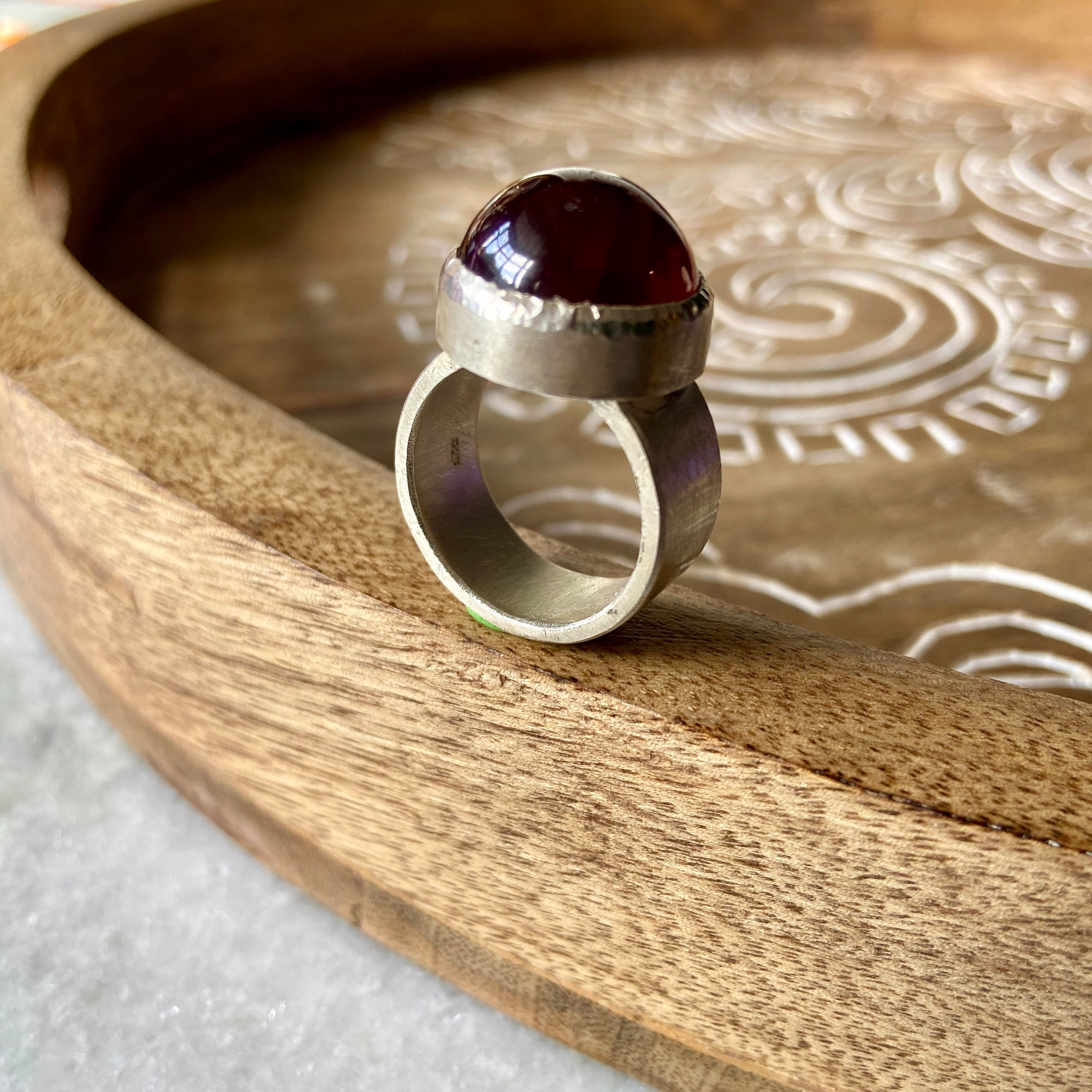 Garnet Dome Ring by Joshua Denniston - Rata Jewellery