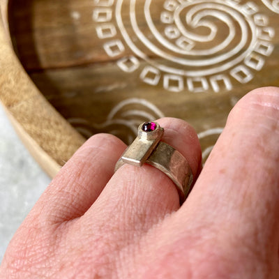Garnet Bar Ring by Joshua Denniston - Rata Jewellery