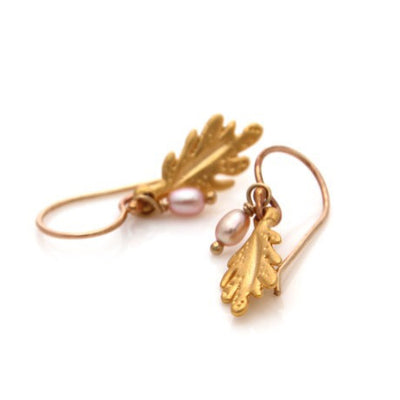 Leaf Drop Earrings - Gold by Louise Douglas - Rata Jewellery