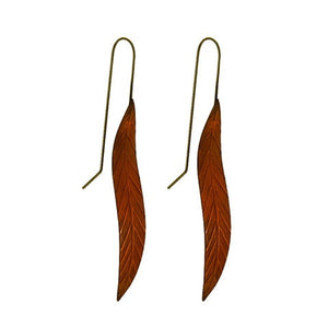 Long Leaf Earrings - Copper by Stone Arrow - Rata Jewellery