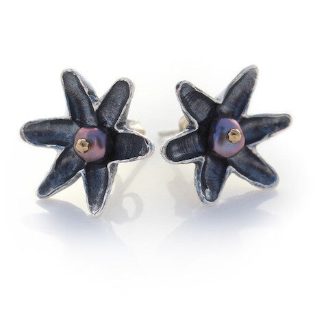 Lotus Flower Studs - Silver by Louise Douglas - Rata Jewellery