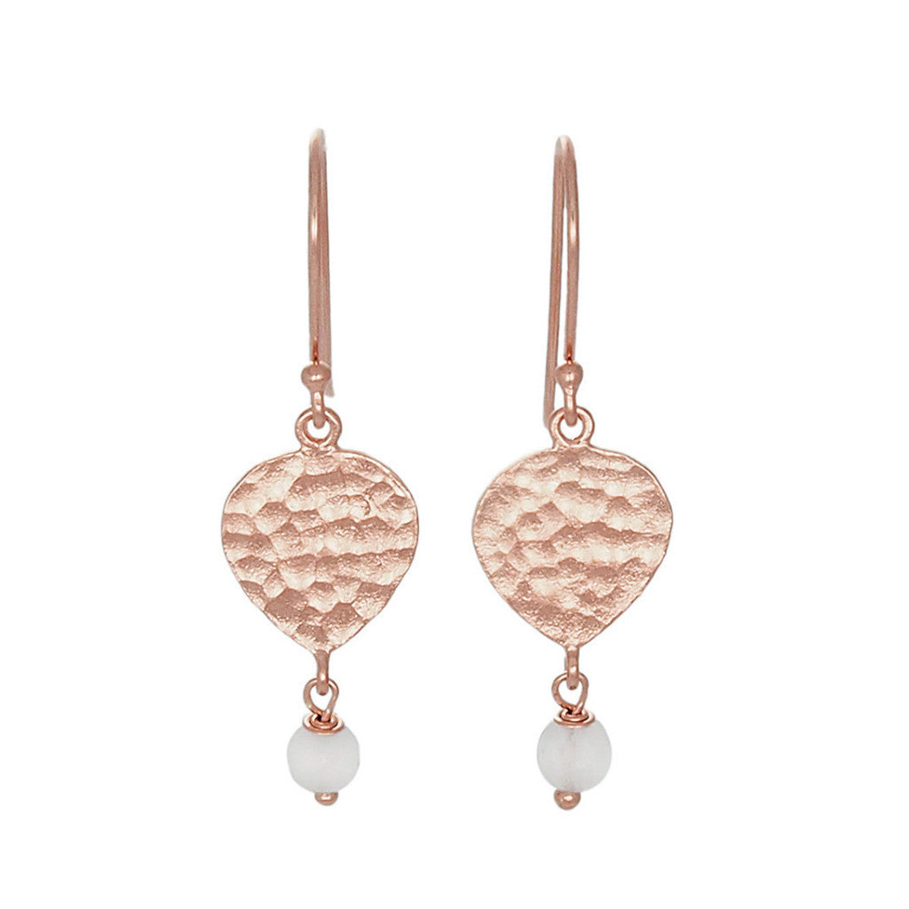 Maya  Earrings - Rose Gold & White Agate
