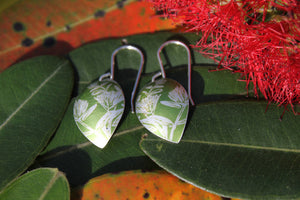 Pohutakawa Earrings - Green by Jill Main - Rata Jewellery