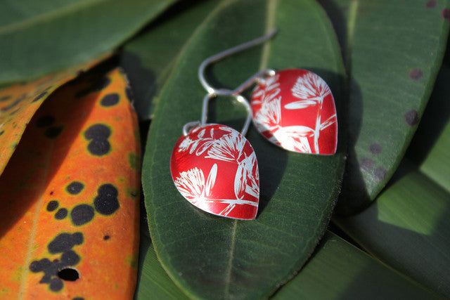 Pohutakawa Earrings - Red by Jill Main - Rata Jewellery