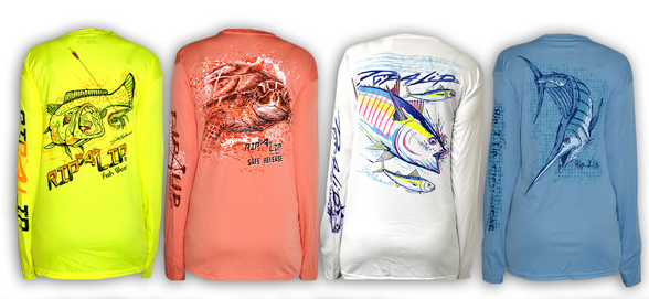 Get vibrant colorful fishing apparel for your family for Rip a lip fish wear