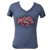 CLOSEOUT: Junior Ladies Tri-Blend Rip A Lip V-Neck Blue