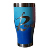 Rip A Lip 27 oz Hand Crafted & Painted 2 Tone Blue Stainless Steel Travel Mug w/Spill Prevention Slide Lock