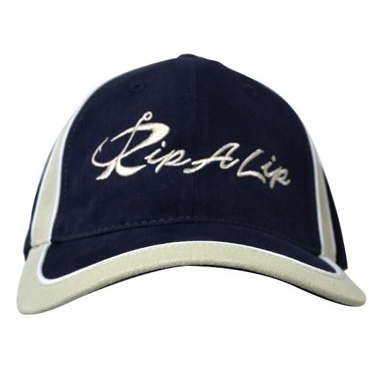 d5087563a Navy & Tan w/White Piping Brushed Sportsman Rip A Lip Cotton Cap