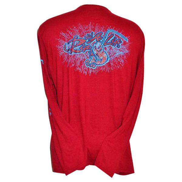 e96cf565a3e2 Rip A Lip Logo Long Sleeve Polyester Jersey Knit Shirt Cardinal Red (2 -  Rip A Lip Fish Wear