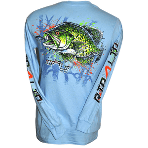 Crappie long sleeve rip a lip t shirt light blue small to 5x for Rip a lip fish wear