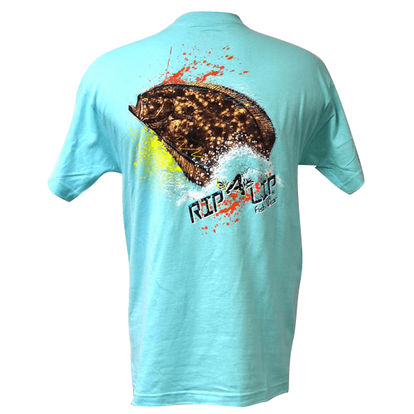 Flounder rip a lip short sleeve t shirt celadon for Rip a lip fish wear