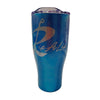 Rip A Lip 27 oz Hand Crafted Iridescent Blue Stainless Steel Travel Mug w/Metallic Silver Logo w/Spill Prevention Slide Lock
