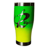 Rip A Lip 27 oz Hand Crafted & Painted 2 Tone Green/Yellow Stainless Steel Travel Mug w/Spill Prevention Slide Lock