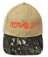CLOSEOUT: Khaki w/Camo Brim Mossy Oak Breakup Rip a Lip Cotton Cap