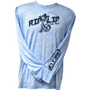CLOSEOUT: Rip A Lip Logo Poly HD Long Sleeve Performance Dri-Wear Shirt Light Blue Mineral Wash (Large Only)