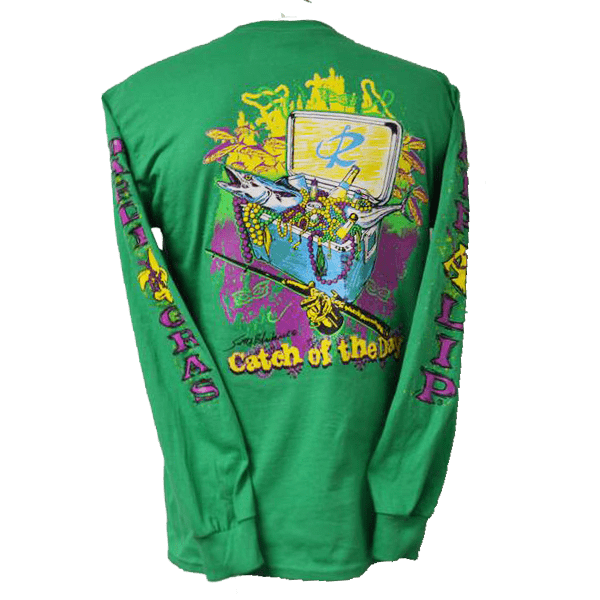 9ba662ae0095a9 CLOSEOUT: Mardi Gras Catch of the Day Long Sleeve T-Shirt Irish Green - Rip  A Lip Fish Wear