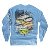 Multi Fish Design Long Sleeve T-Shirt Carolina Blue (2X & 3X Only)