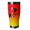 Rip A Lip 27 oz Hand Crafted & Painted 2 Tone Orange/Yellow Stainless Steel Travel Mug w/Spill Prevention Slide Lock