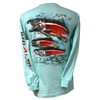 Salmon Long Sleeve Rip A Lip T-Shirt  Celadon