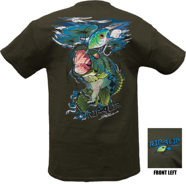 Closeout bass t shirt olive short sleeve graphic tee for Rip a lip fish wear