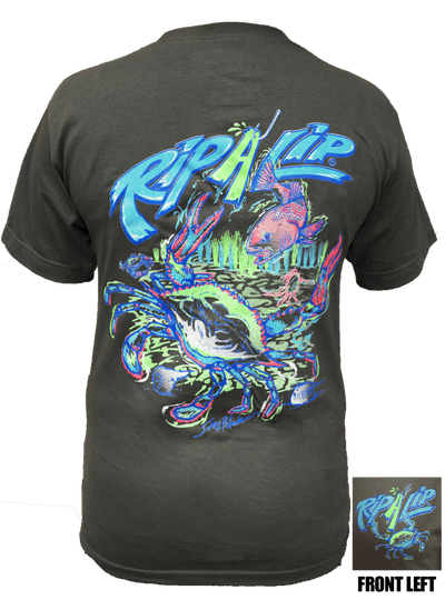 Blue crab charcoal short sleeve graphic tee for Rip a lip fish wear
