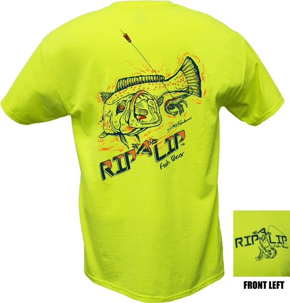 Speckled trout shirt safety green short sleeve graphic for Rip a lip fish wear