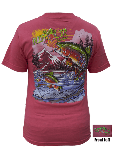 e61603119cd Rainbow Trout Shirt - Charcoal Short Sleeve Fishing Tee - Rip A Lip ...