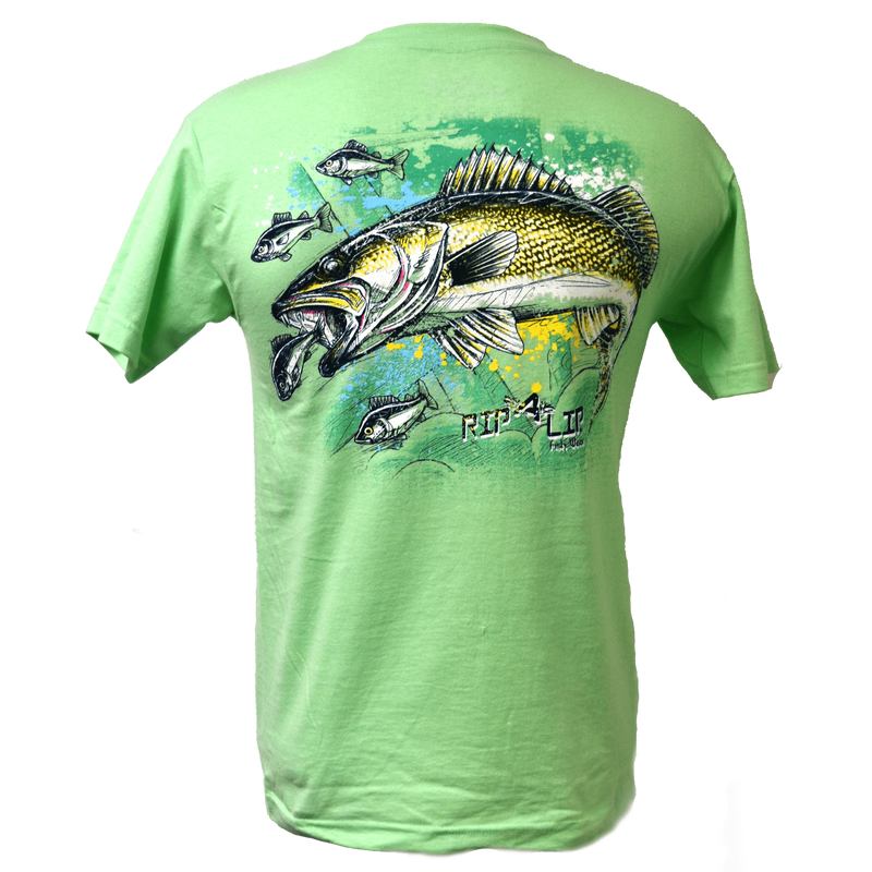 Fresh water walleye short sleeve rip a lip t shirt mint for Rip a lip fish wear