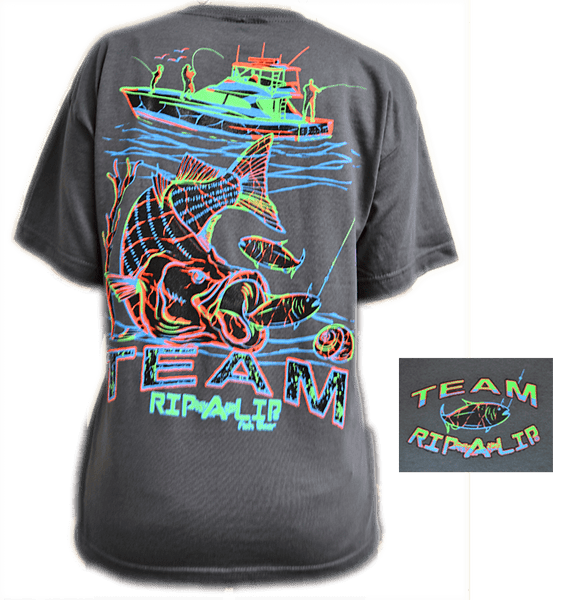 Striped bass youth shirt charcoal short sleeve graphic for Rip a lip fish wear