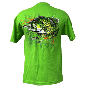 Closeout crappie short sleeve rip a lip t shirt lime for Rip a lip fish wear