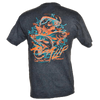 Salt Water Trinity Rip A Lip Short Sleeve T-Shirt w/Pocket Charcoal Heather & Neon Orange