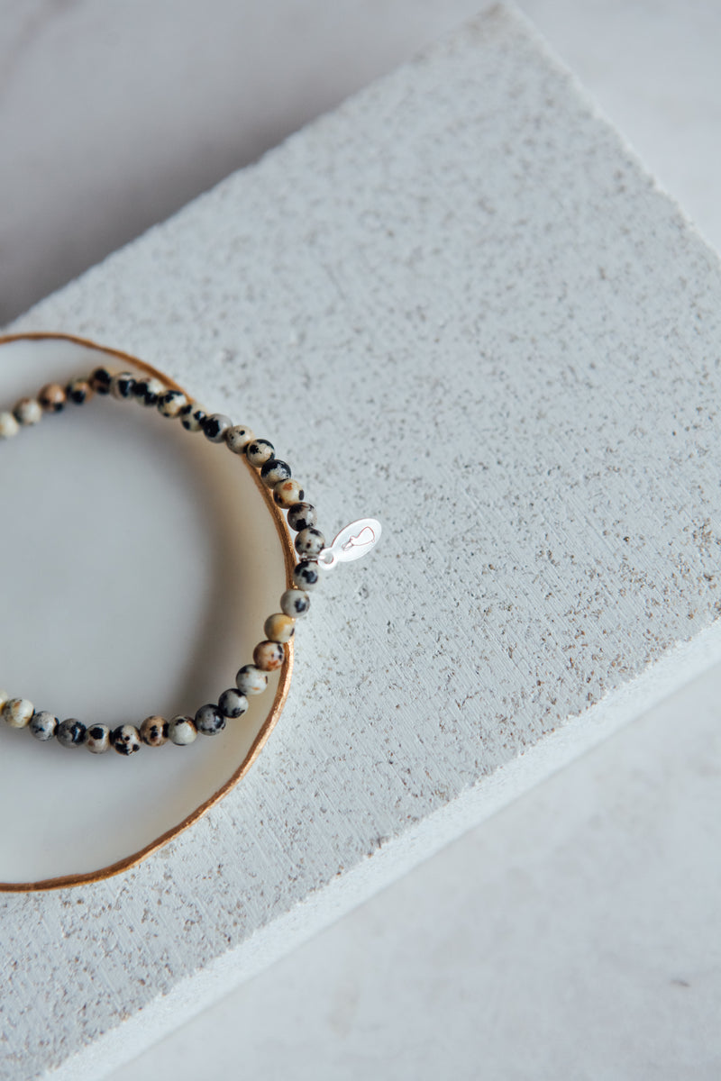 The 'faith and devotion' bracelet | Dalmatian Jasper