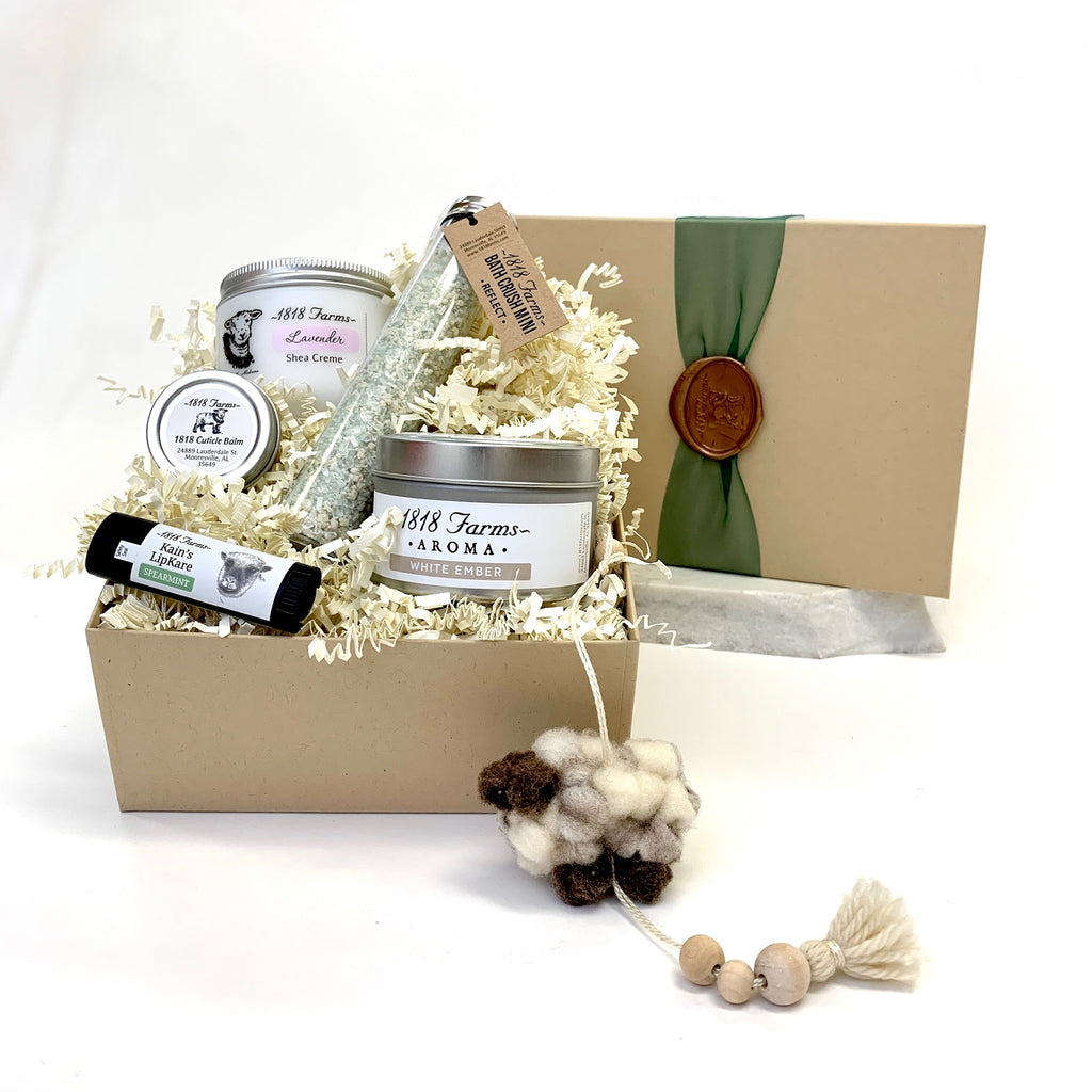 Holiday Gift Box with Artisan Wool Sheep Ornament