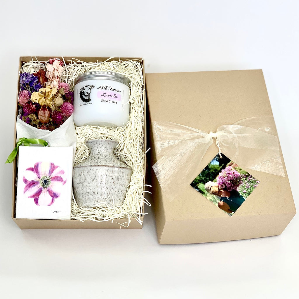 Seed to Vase Dried Flower Gift Box with Anemone Canvas