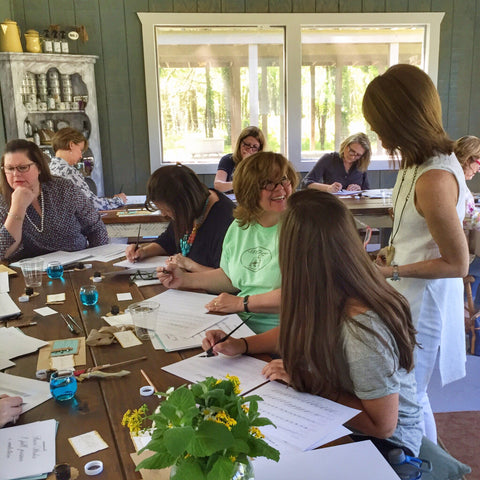 Half-Day Intermediate Flourishing Fête Calligraphy Workshop with Suzanne Cunningham at 1818 Farms (4 Hours)
