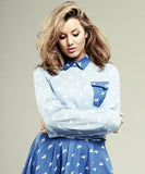 Caggie Dunlop Wears ISWAI Denim Print Shirt