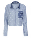 ISWAI Womens Denim Dog Print Shirt