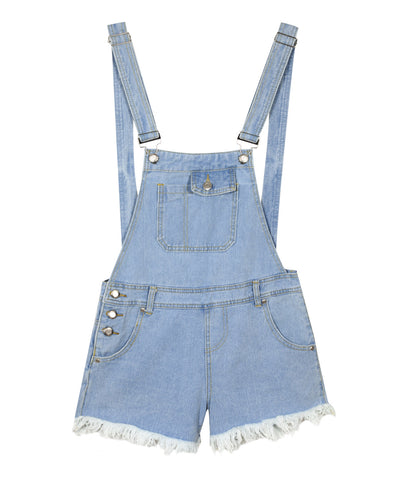 ISWAI Denim Dungaree Shorts