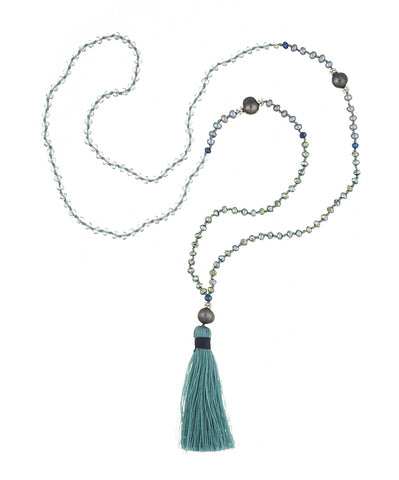 Blue & Green Tassel Necklace