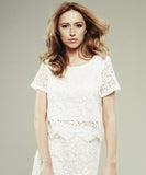 Model Wears ISWAI Floral Lace White T-shirt