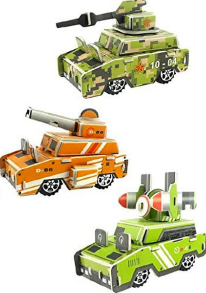 Cestari Toys Set of 3 Pull Back 3D Puzzle Vehicle Model Kit Assortment - Educational Assembly Toy Gift Party Favors