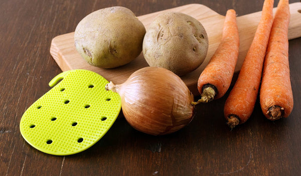 Vegetable Scrubber Brush : Double Sided Fruit and Vegetable Scrubber - Multi Use: Potato Scrubber - Carrot Brush - Trivet - Jar Opener by Cestari Kitchen