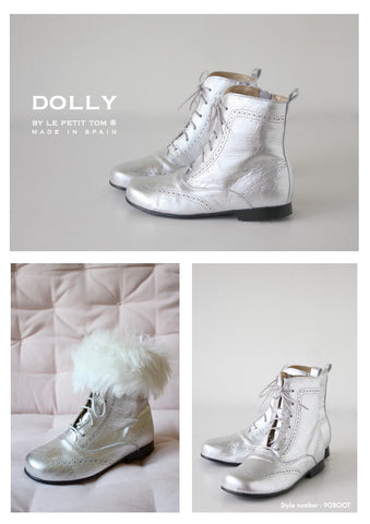 DOLLY Classic Doll Boot in silver leather